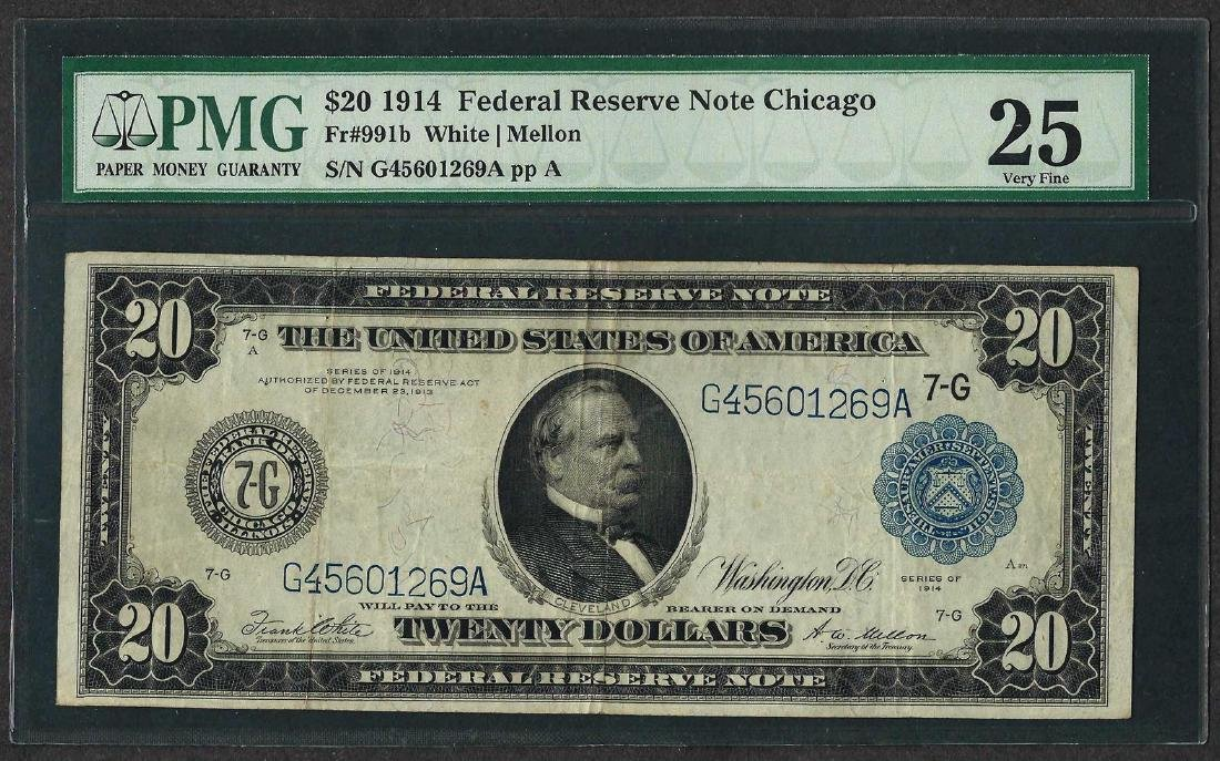 1914 $20 Federal Reserve Note Chicago Fr.991b PMG Very