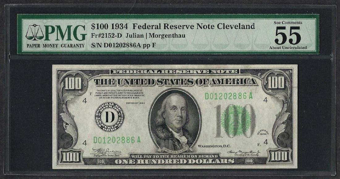 1934 $100 Federal Reserve Note Cleveland Fr.2152-D PMG