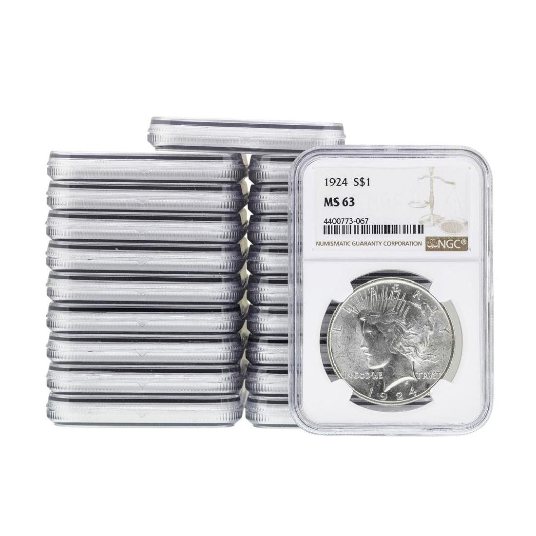 Lot of (20) 1924 $1 Peace Silver Dollar Coin NGC MS63