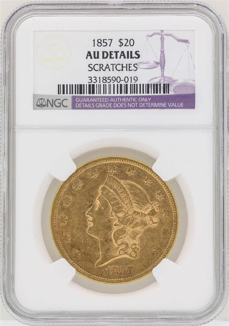 1857 $20 Liberty Head Double Eagle Gold Coin NGC AU
