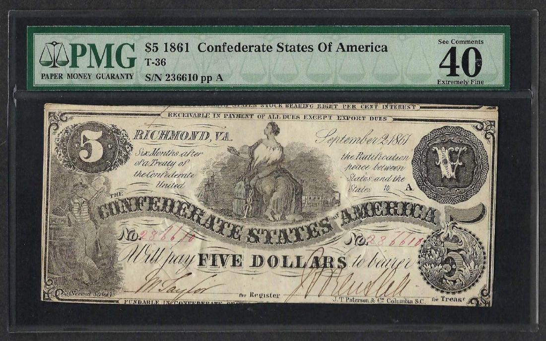 1861 $5 Confederate States of America Note T-36 PMG
