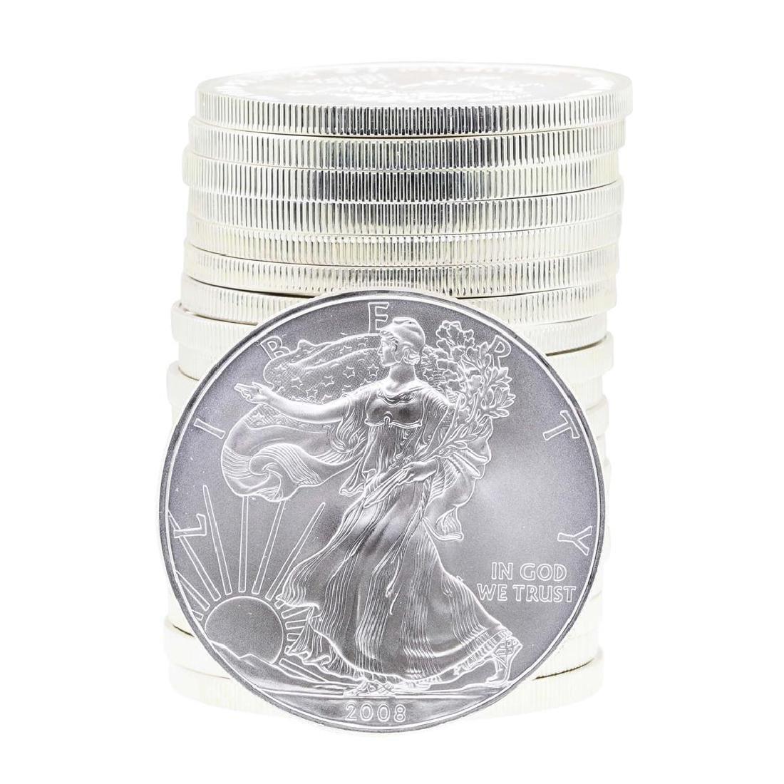 Roll of (20) 2008 $1 American Silver Eagle Brilliant