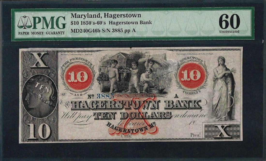 1850's-60's $10 The Hagerstown Bank Obsolete Note PMG