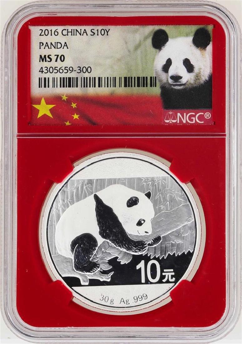 2016 China 10 Yuan Panda Silver Coin NGC MS70