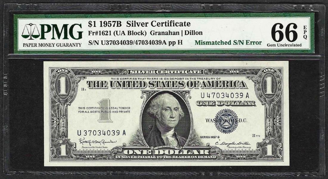 1957B $1 Silver Certificate Note Mismatched S/N ERROR