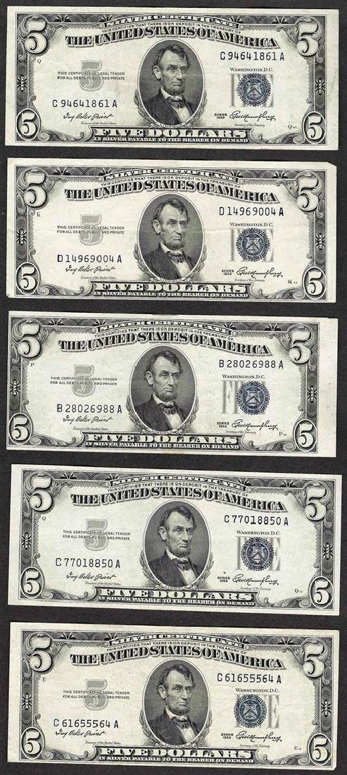 Lot of (5) 1953 $5 Silver Certificate Notes