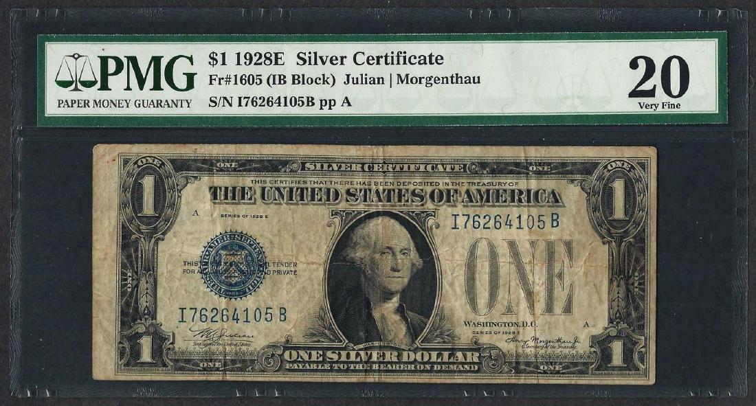 1928E $1 Silver Certificate Note Fr.1605 PMG Very Fine