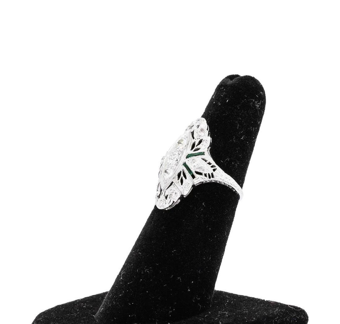 Platinum 0.65 ctw Diamond and Emerald Ring - 2