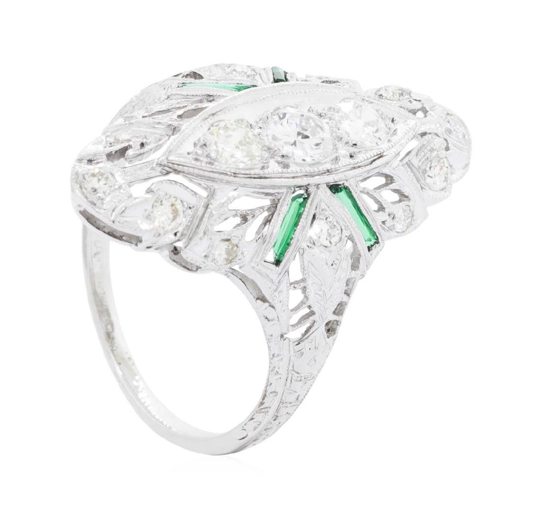 Platinum 0.65 ctw Diamond and Emerald Ring - 3
