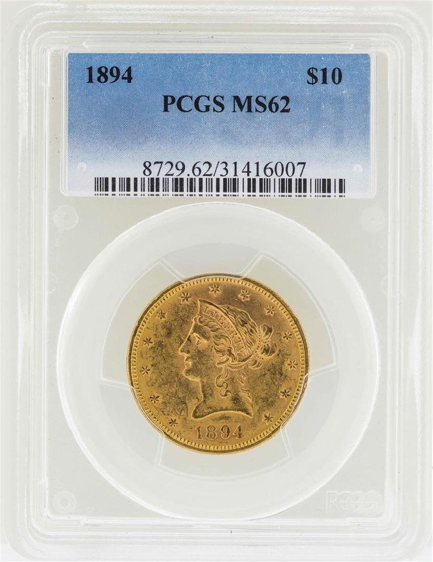 1894 $10 Liberty Head Eagle Gold Coin PCGS MS62