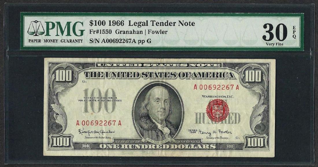 1966 $100 Legal Tender Note Fr.1550 PMG Very Fine 30EPQ