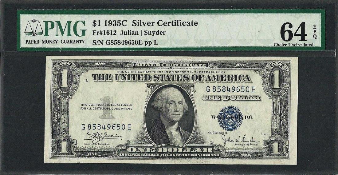1935C $1 Silver Certificate Note Fr.1612 PMG Choice