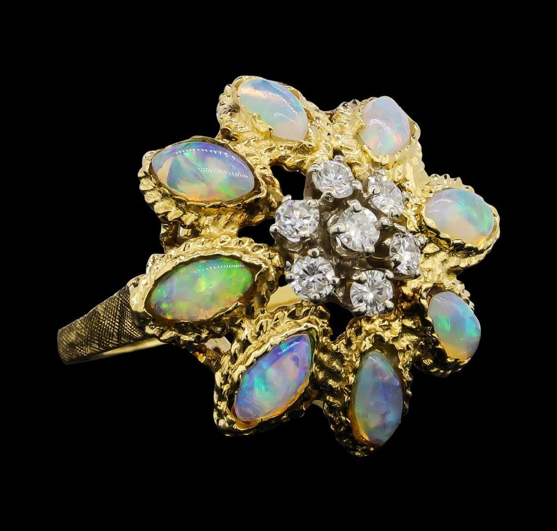 18KT Yellow Gold 2.00 ctw Opal and Diamond Ring - 2