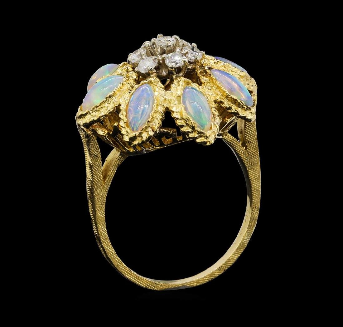 18KT Yellow Gold 2.00 ctw Opal and Diamond Ring - 4