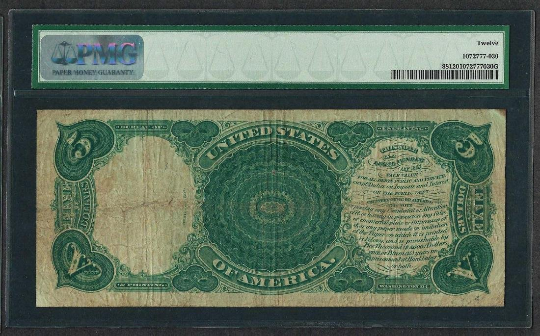 1907 $5 Woodchopper Legal Tender Note Fr.88 PMG Fine 12 - 2