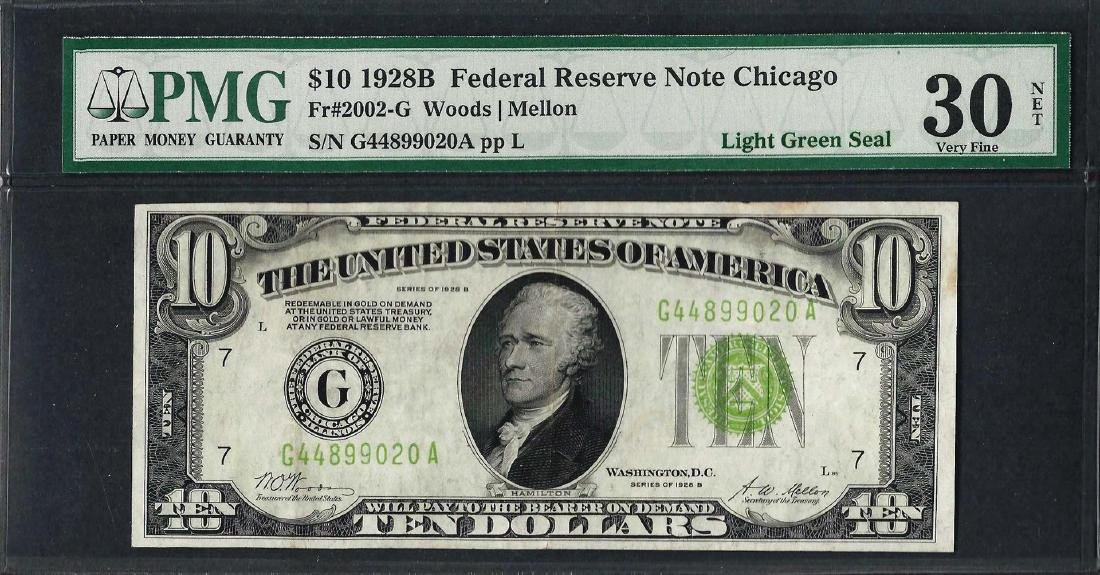 1928B $10 Federal Reserve Note Chicago Light Green Seal