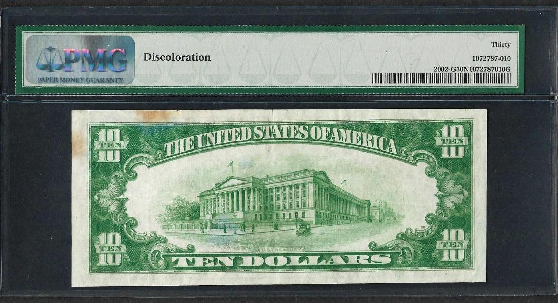 1928B $10 Federal Reserve Note Chicago Light Green Seal - 2