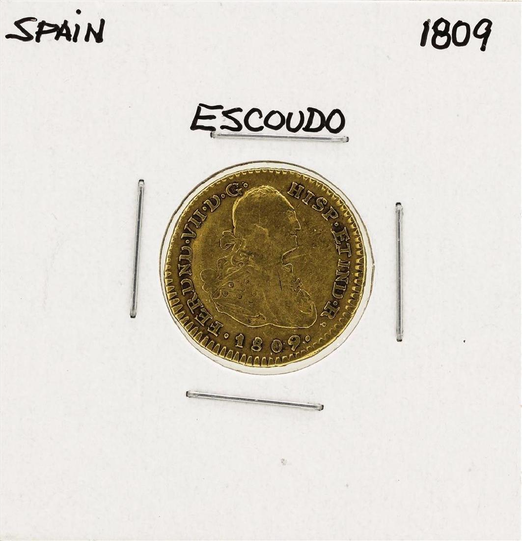 1809 Ferdinand VII Spanish Escudo Gold Coin