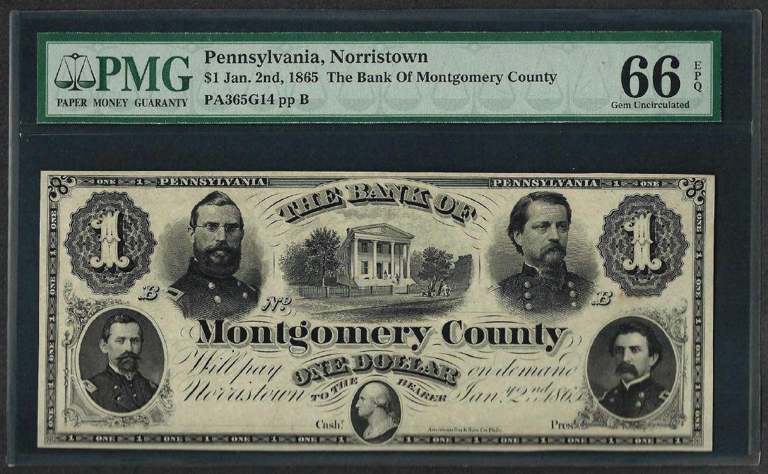 1865 $1 The Bank of Montgomery County Obsolete Note PMG