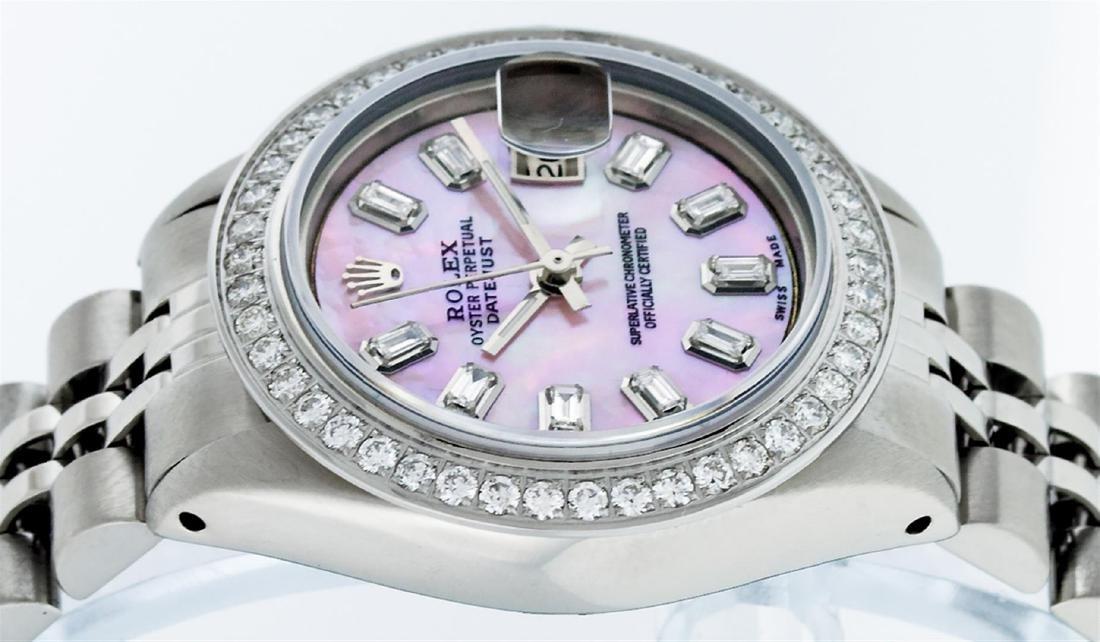 Rolex Ladies Stainless Steel Pink MOP Baguette Diamond - 3