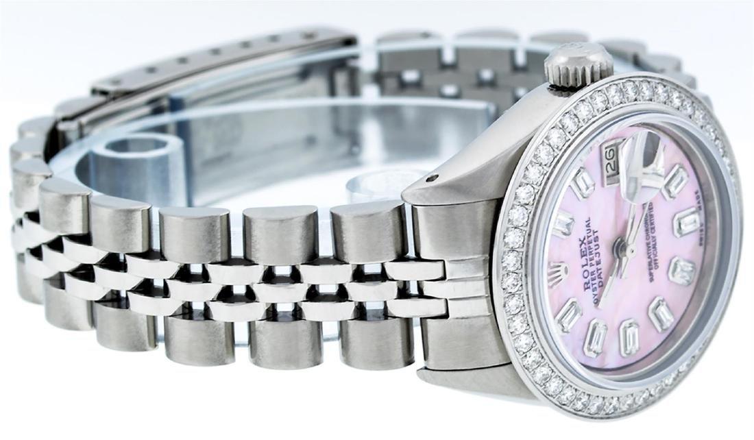 Rolex Ladies Stainless Steel Pink MOP Baguette Diamond - 5