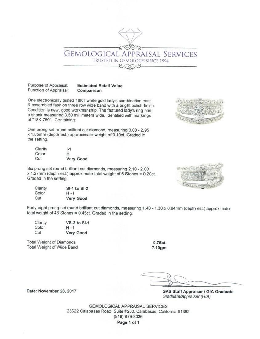 18KT White Gold 0.75 ctw Diamond Ring - 5