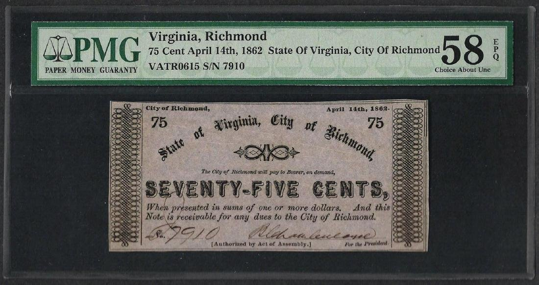 1862 75 Cents The City of Richmond Obsolete Note PMG