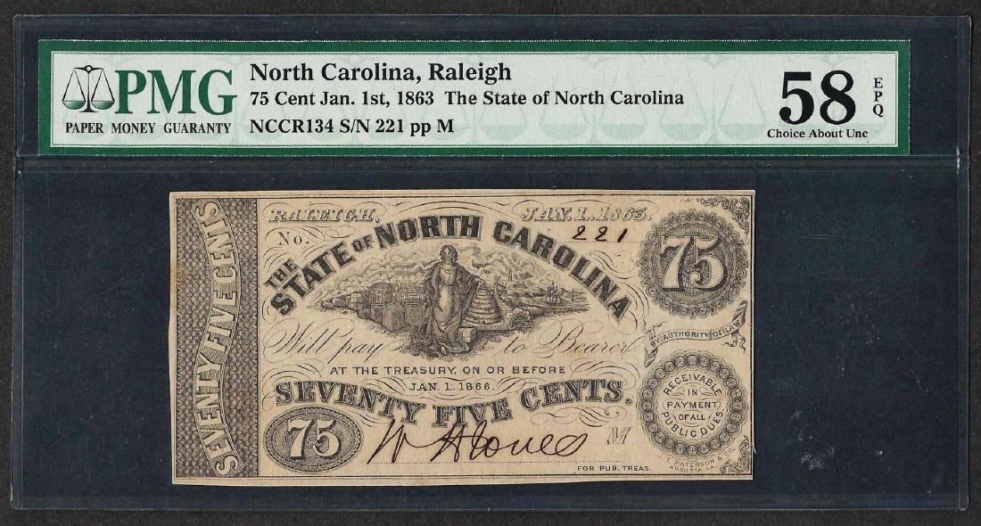 1863 75 Cents State of North Carolina Obsolete Note PMG