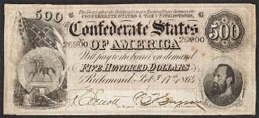 1864 500 Confederate States of America Note