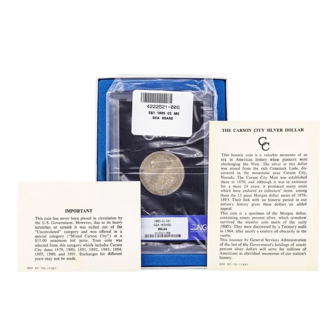 1885-CC $1 Morgan Silver Dollar Coin NGC MS64 GSA Hoard