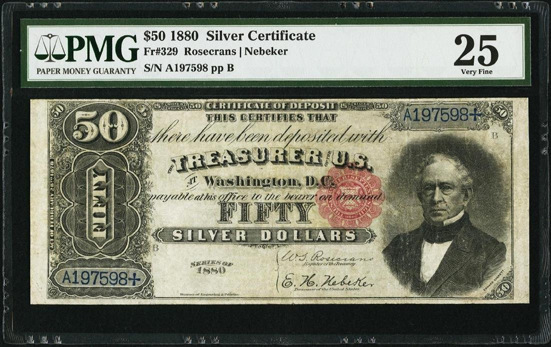 1880 $50 Silver Certificate Note Fr.329 PMG Very Fine