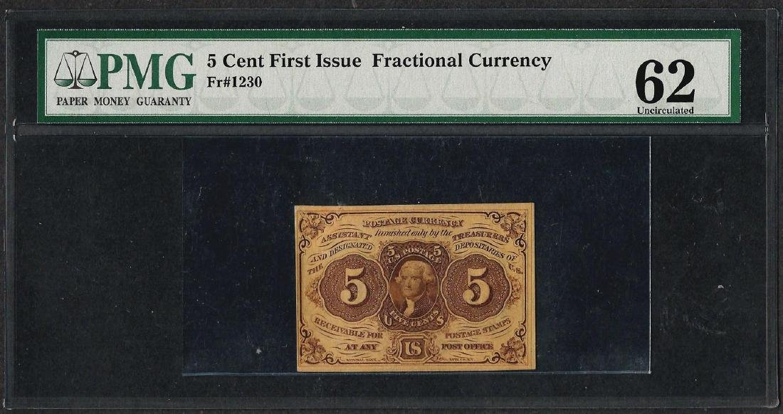 1862 First Issue 5 Cent Fractional Currency Note