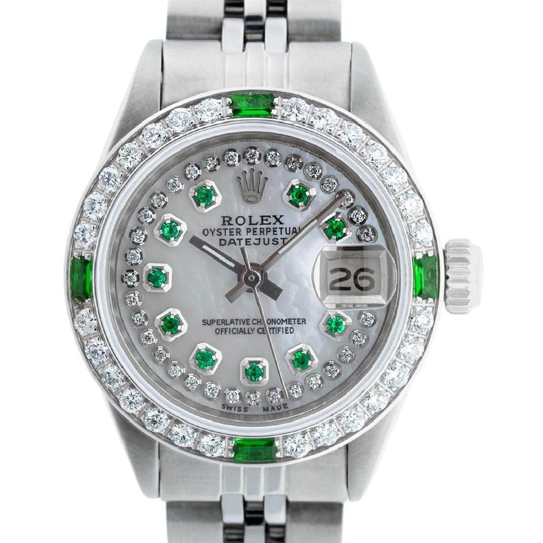 Rolex Ladies Stainless Steel MOP Emerald & Diamond