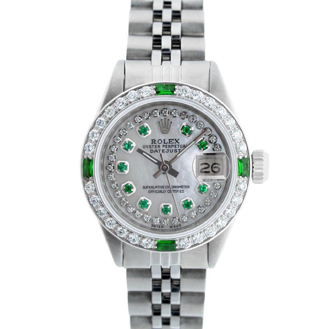 Rolex Ladies Stainless Steel MOP Emerald & Diamond - 2