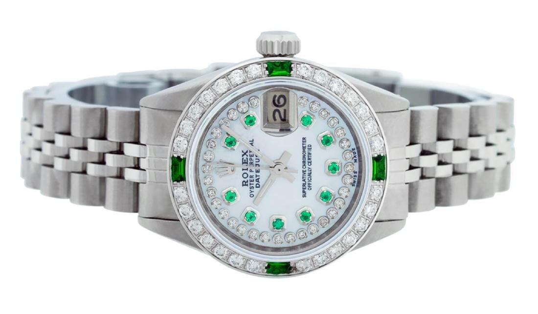 Rolex Ladies Stainless Steel MOP Emerald & Diamond - 3