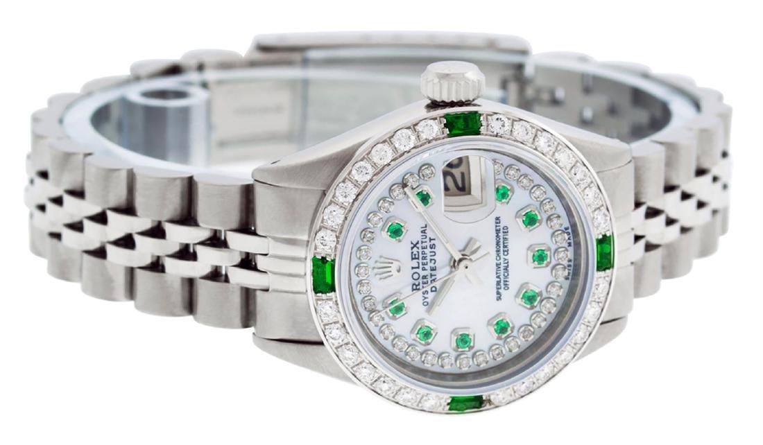 Rolex Ladies Stainless Steel MOP Emerald & Diamond - 4