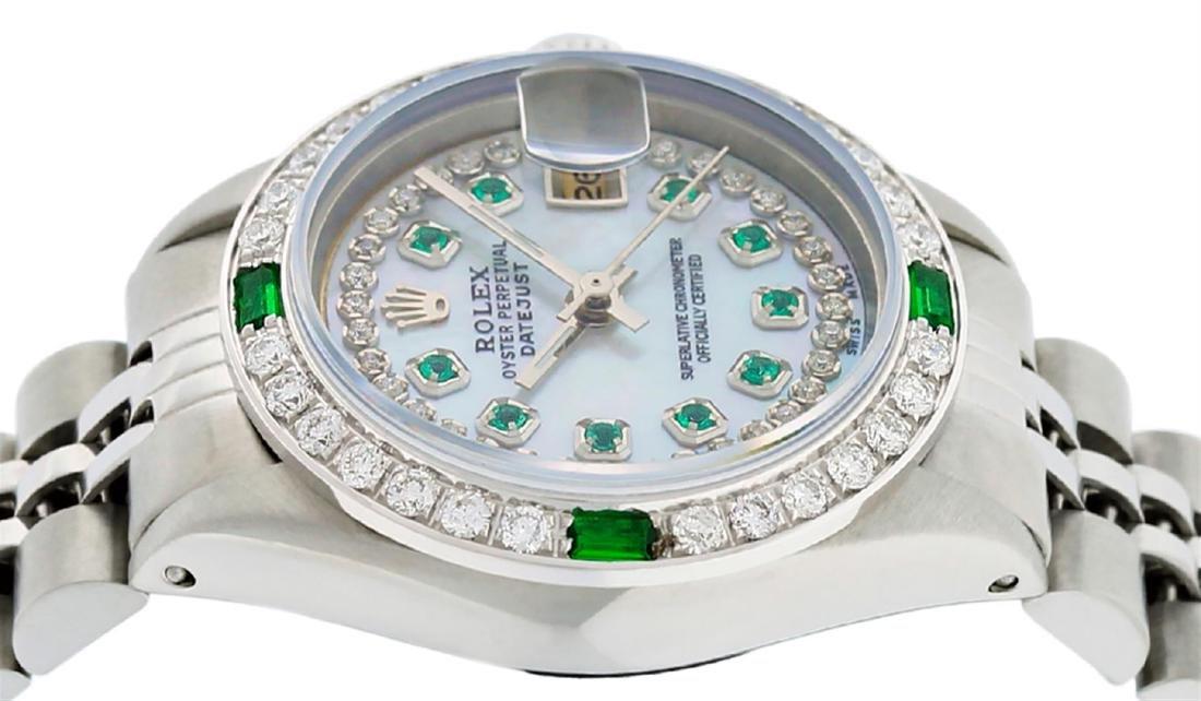 Rolex Ladies Stainless Steel MOP Emerald & Diamond - 5