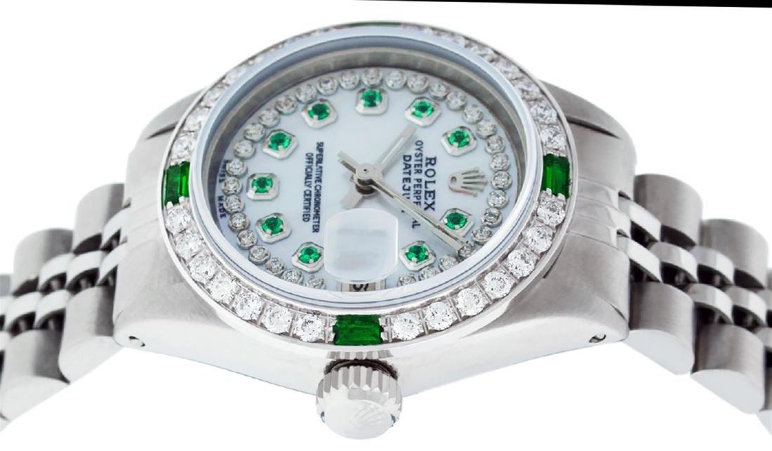 Rolex Ladies Stainless Steel MOP Emerald & Diamond - 6