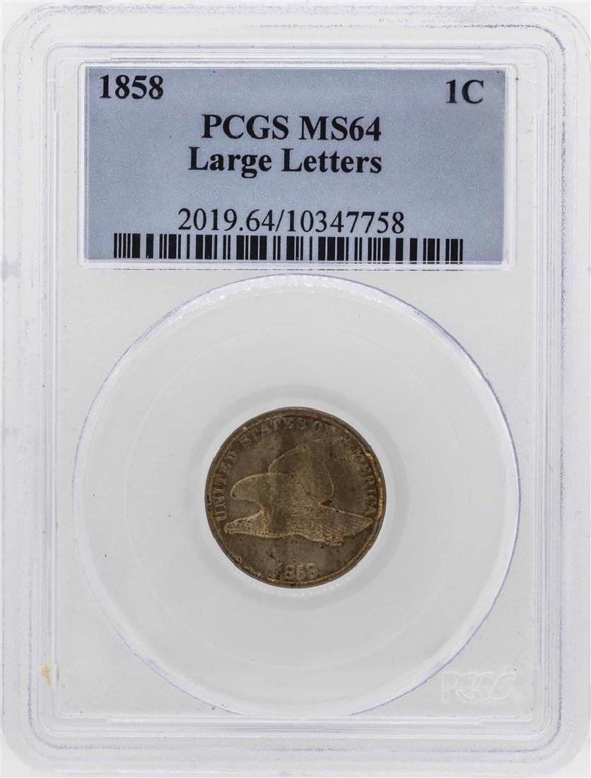 1858 Flying Cent Coin PCGS MS64 Large Letters