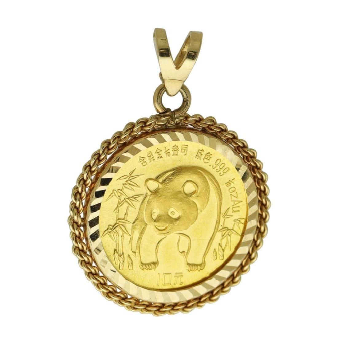 1986 China 10 Yuan Panda Gold Coin Pendant