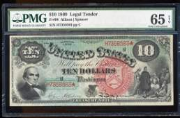 1869 $10 Rainbow Legal Tender Note Fr.96 PMG Gem