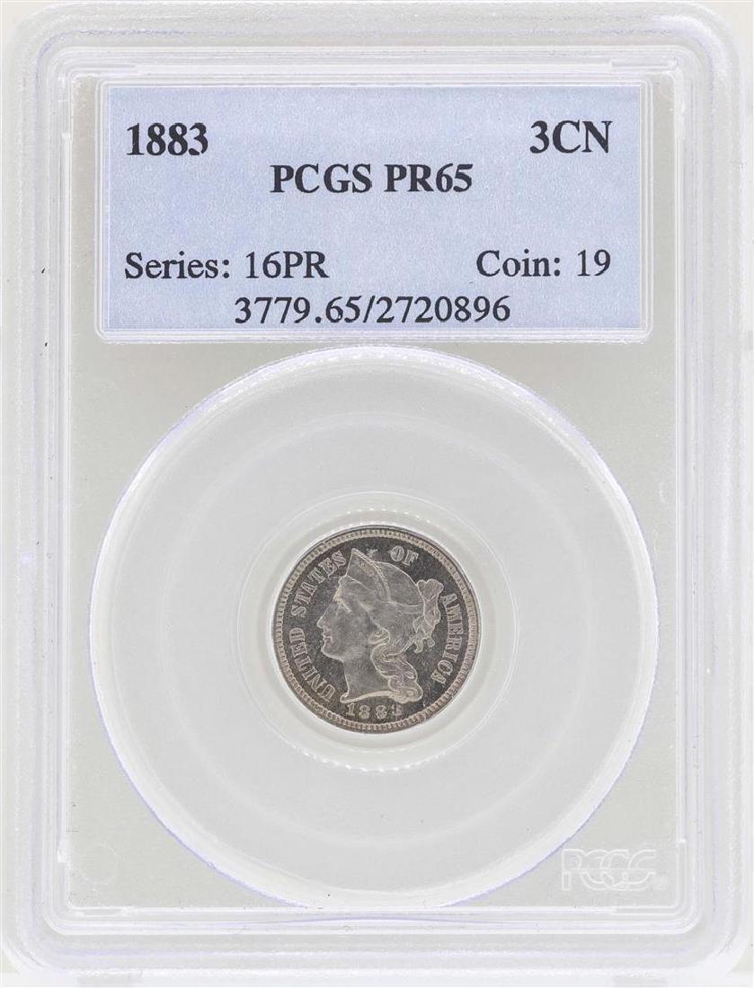 1883 3 Cent Nickel Proof Coin PCGS PR65