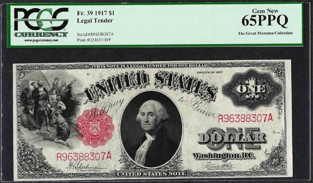 1917 $1 Legal Tender Note Fr.37 PCGS Gem New 65PPQ