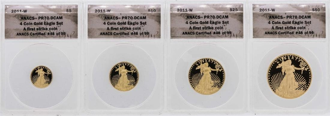 2011-W American Gold Eagle (4) Coin Proof Set ANACS - 2
