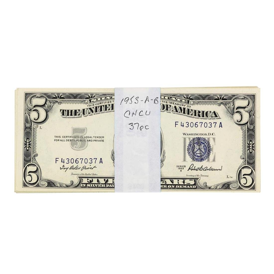 Lot of (37) 1953A/B $5 Silver Certificate Notes