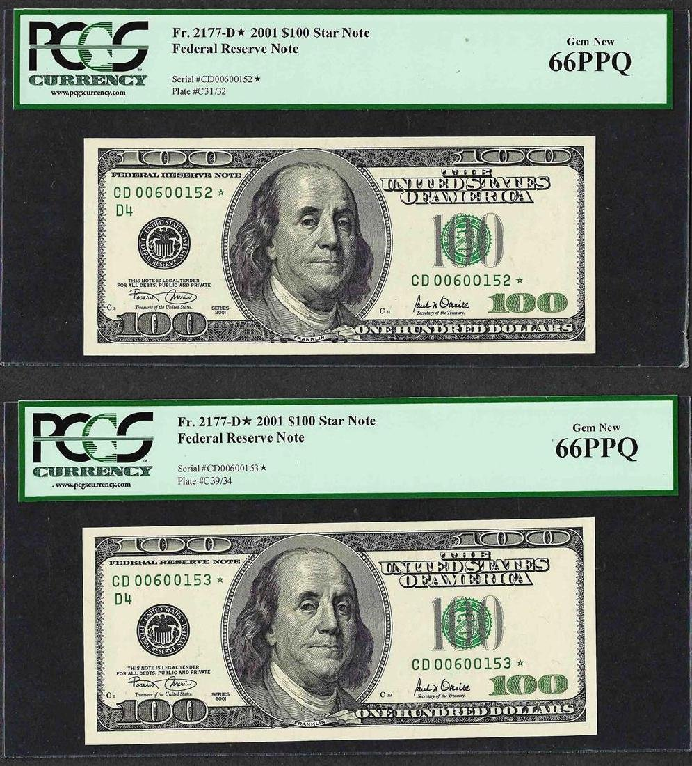 Lot of (2) Consecutive 2001 $100 Federal Reserve STAR