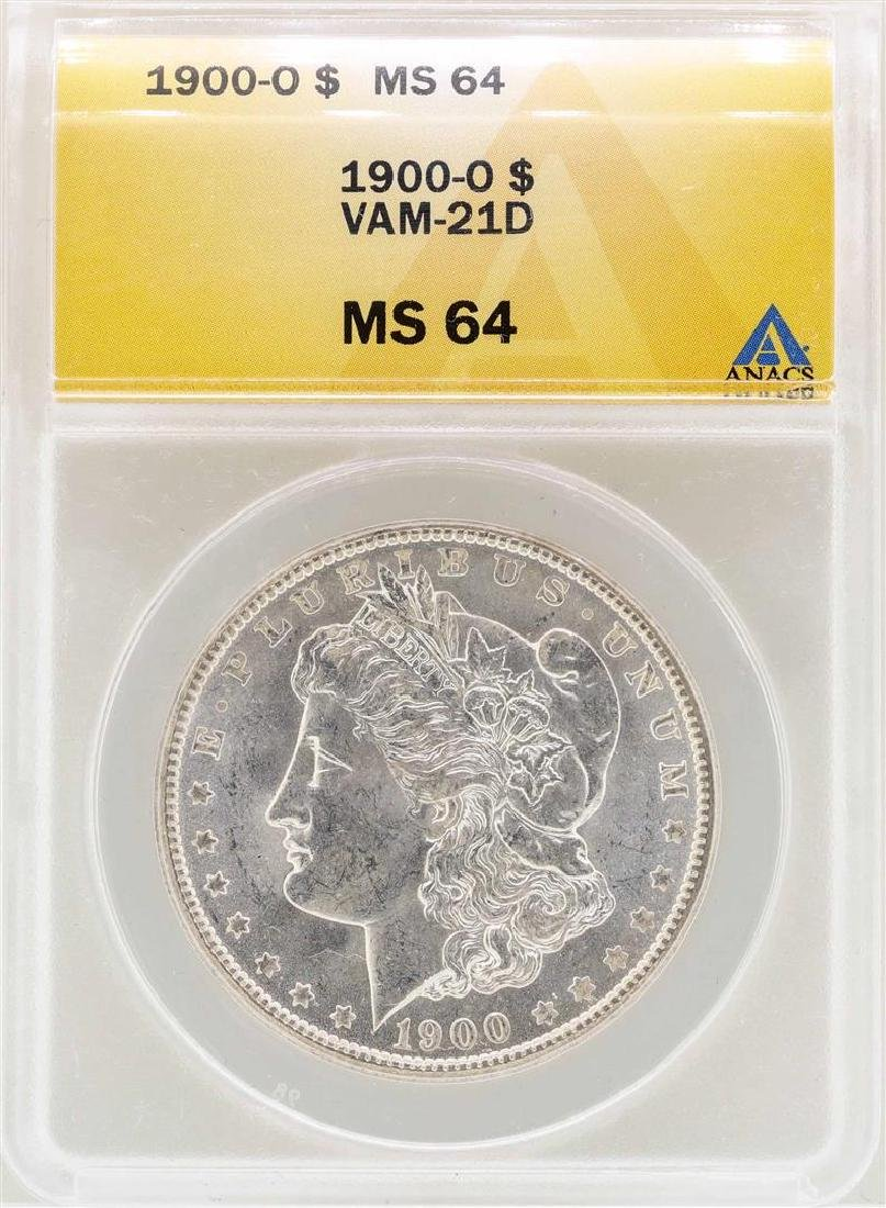 1900-O VAM-21D $1 Morgan Silver Dollar Coin ANACS MS64