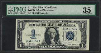 1934 1 Funnyback Silver Certificate Note Fr1606 PMG