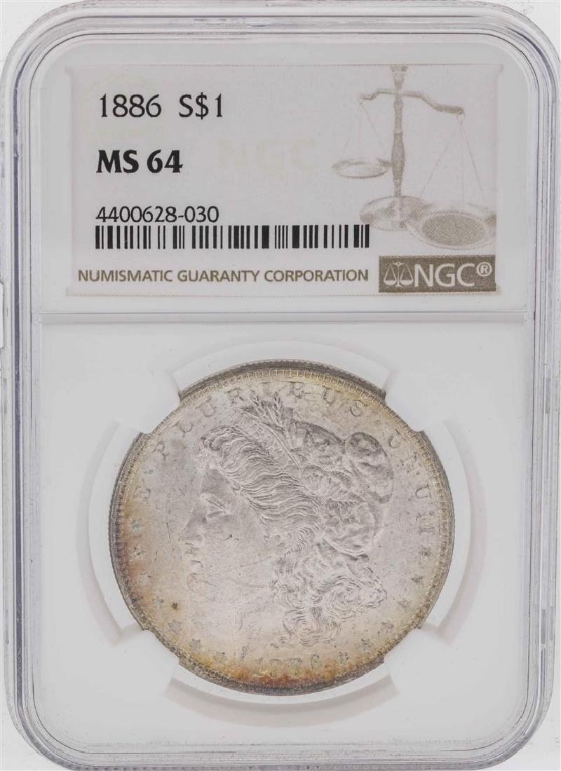 1886 $1 Morgan Silver Dollar Coin NGC MS64