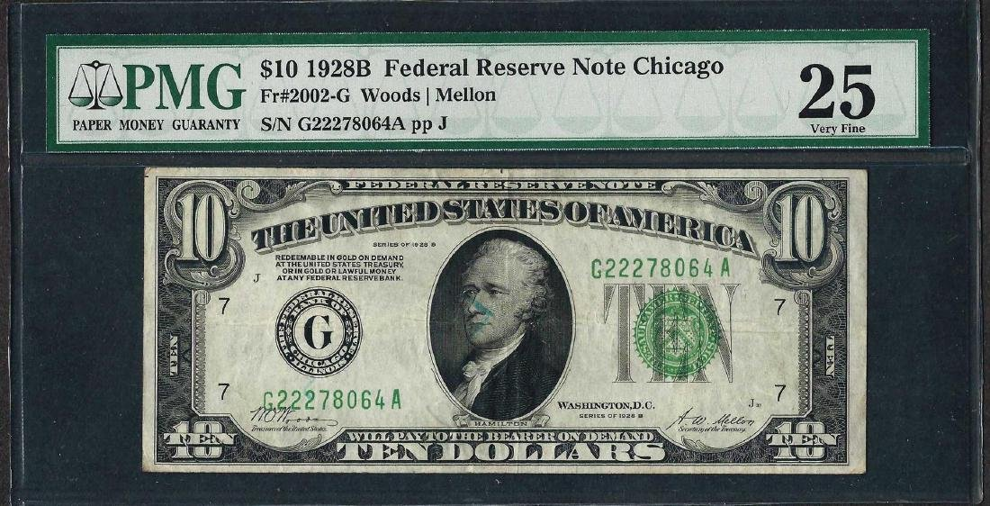 1928B $10 Federal Reserve Note Chicago Fr.2002-G PMG